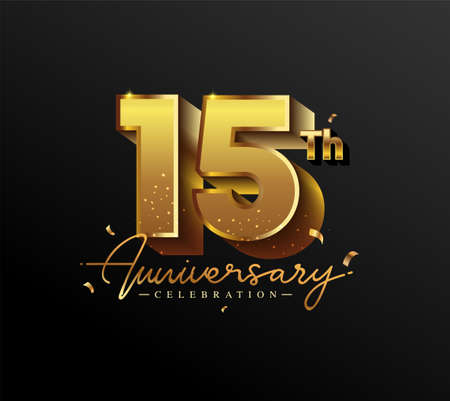 15th Anniversary Logotype with Gold Confetti Isolated on Black Background, Vector Design for Greeting Card and Invitation Card