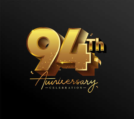 94th Anniversary Logotype with Gold Confetti Isolated on Black Background, Vector Design for Greeting Card and Invitation Card