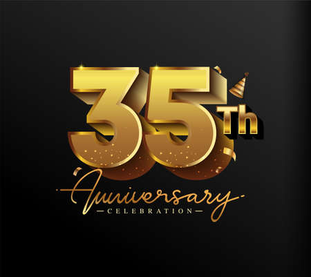 35th Anniversary Logotype with Gold Confetti Isolated on Black Background, Vector Design for Greeting Card and Invitation Card 向量圖像