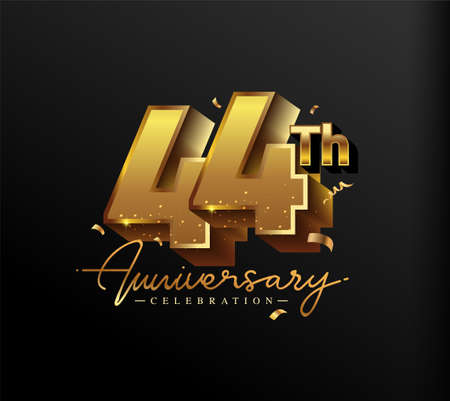 44th Anniversary Logotype with Gold Confetti Isolated on Black Background, Vector Design for Greeting Card and Invitation Card