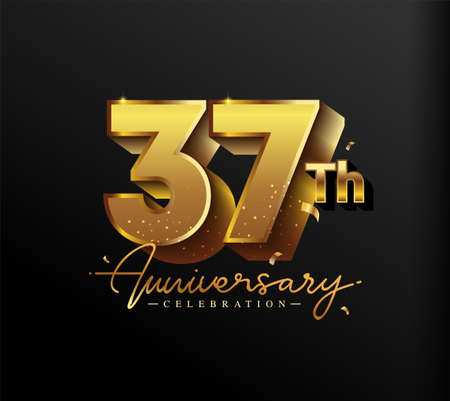 37th Anniversary Logotype with Gold Confetti Isolated on Black Background, Vector Design for Greeting Card and Invitation Card