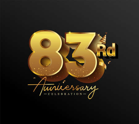83rd Anniversary Logotype with Gold Confetti Isolated on Black Background, Vector Design for Greeting Card and Invitation Card
