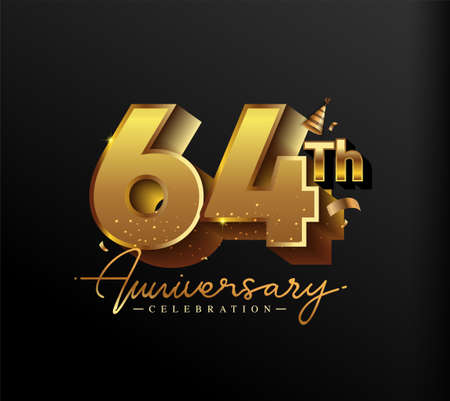 64th Anniversary Logotype with Gold Confetti Isolated on Black Background, Vector Design for Greeting Card and Invitation Card