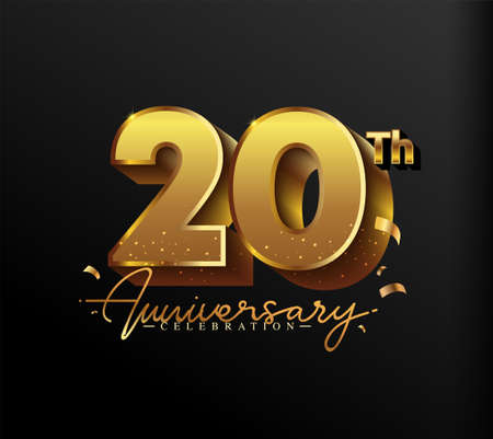 20th Anniversary Logotype with Gold Confetti Isolated on Black Background, Vector Design for Greeting Card and Invitation Card 向量圖像