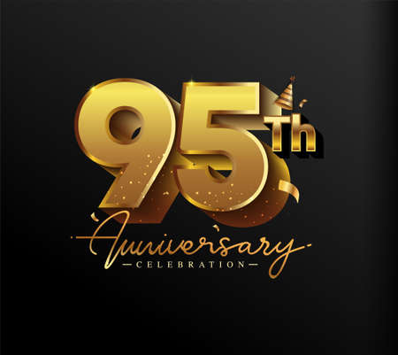 95th Anniversary Logotype with Gold Confetti Isolated on Black Background, Vector Design for Greeting Card and Invitation Card 向量圖像
