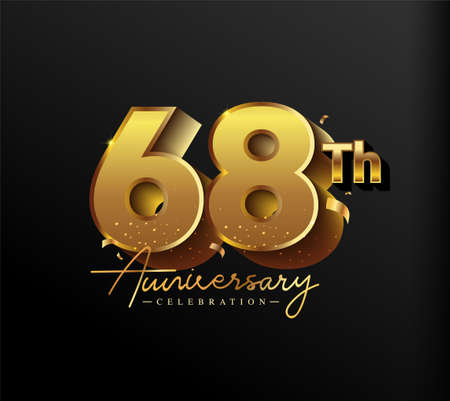 68th Anniversary Logotype with Gold Confetti Isolated on Black Background, Vector Design for Greeting Card and Invitation Card