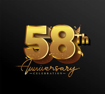 58th Anniversary Logotype with Gold Confetti Isolated on Black Background, Vector Design for Greeting Card and Invitation Card