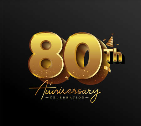 80th Anniversary Logotype with Gold Confetti Isolated on Black Background, Vector Design for Greeting Card and Invitation Card