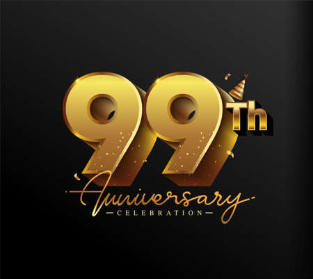 99th Anniversary Logotype with Gold Confetti Isolated on Black Background, Vector Design for Greeting Card and Invitation Card 向量圖像