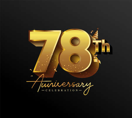 78th Anniversary Logotype with Gold Confetti Isolated on Black Background, Vector Design for Greeting Card and Invitation Card