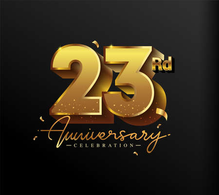 23rd Anniversary Logotype with Gold Confetti Isolated on Black Background, Vector Design for Greeting Card and Invitation Card 向量圖像