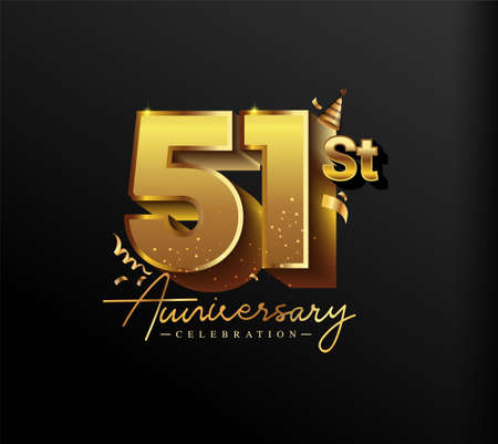 51st Anniversary Logotype with Gold Confetti Isolated on Black Background, Vector Design for Greeting Card and Invitation Card