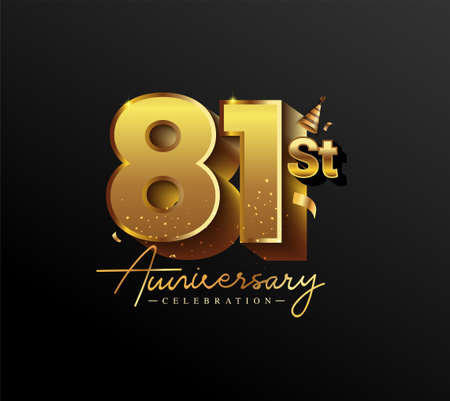 81st Anniversary Logotype with Gold Confetti Isolated on Black Background, Vector Design for Greeting Card and Invitation Card