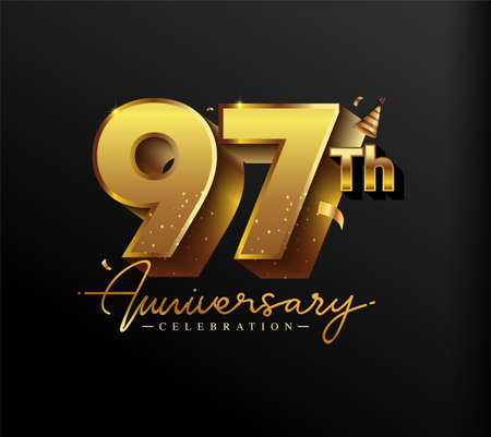 97th Anniversary Logotype with Gold Confetti Isolated on Black Background, Vector Design for Greeting Card and Invitation Card 向量圖像