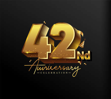 42nd Anniversary Logotype with Gold Confetti Isolated on Black Background, Vector Design for Greeting Card and Invitation Card