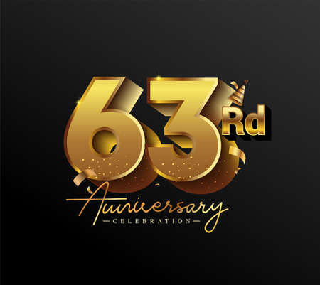 63rd Anniversary Logotype with Gold Confetti Isolated on Black Background, Vector Design for Greeting Card and Invitation Card