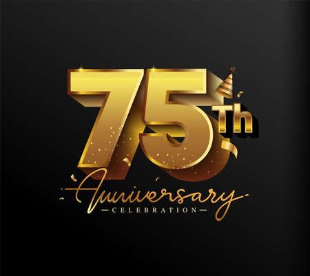 75th Anniversary Logotype with Gold Confetti Isolated on Black Background, Vector Design for Greeting Card and Invitation Card