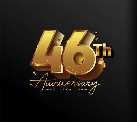 46th Anniversary Logotype with Gold Confetti Isolated on Black Background, Vector Design for Greeting Card and Invitation Card 向量圖像