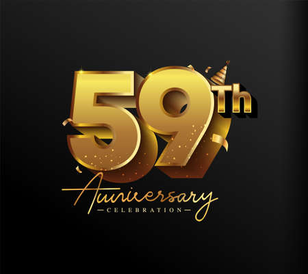 59th Anniversary Logotype with Gold Confetti Isolated on Black Background, Vector Design for Greeting Card and Invitation Card