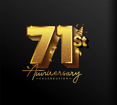 71st Anniversary Logotype with Gold Confetti Isolated on Black Background, Vector Design for Greeting Card and Invitation Card