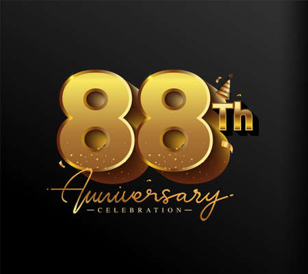 88th Anniversary Logotype with Gold Confetti Isolated on Black Background, Vector Design for Greeting Card and Invitation Card