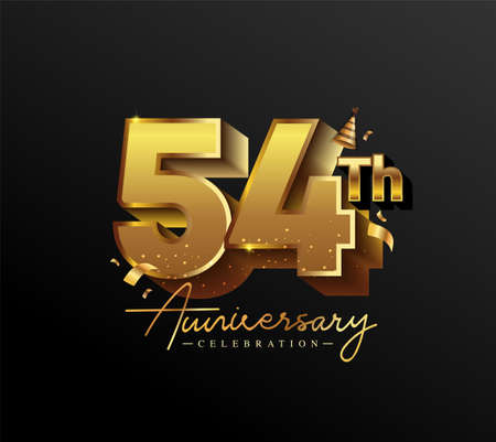 54th Anniversary Logotype with Gold Confetti Isolated on Black Background, Vector Design for Greeting Card and Invitation Card