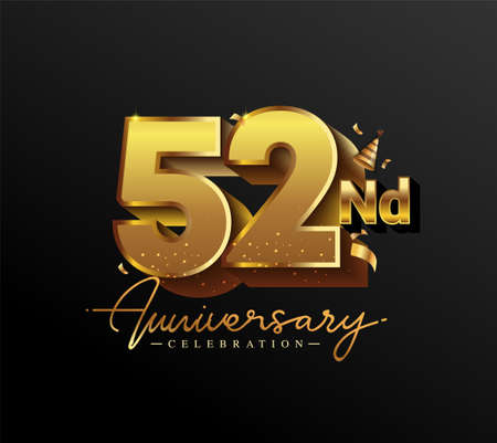 52nd Anniversary Logotype with Gold Confetti Isolated on Black Background, Vector Design for Greeting Card and Invitation Card