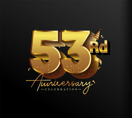 53rd Anniversary Logotype with Gold Confetti Isolated on Black Background, Vector Design for Greeting Card and Invitation Card