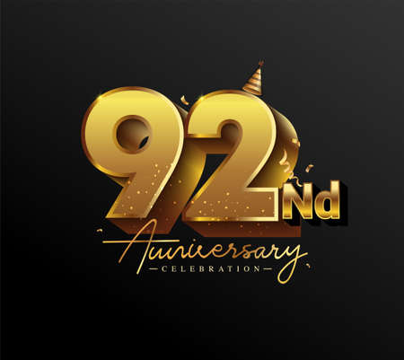 92nd Anniversary Logotype with Gold Confetti Isolated on Black Background, Vector Design for Greeting Card and Invitation Card 向量圖像