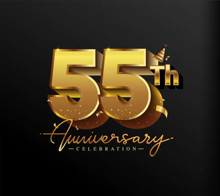 55th Anniversary Logotype with Gold Confetti Isolated on Black Background, Vector Design for Greeting Card and Invitation Card 向量圖像