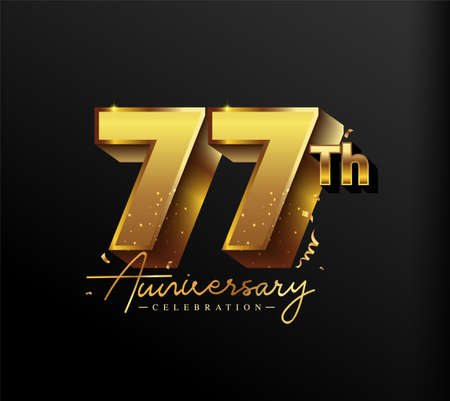 77th Anniversary Logotype with Gold Confetti Isolated on Black Background, Vector Design for Greeting Card and Invitation Card