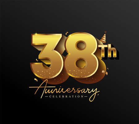 38th Anniversary Logotype with Gold Confetti Isolated on Black Background, Vector Design for Greeting Card and Invitation Card