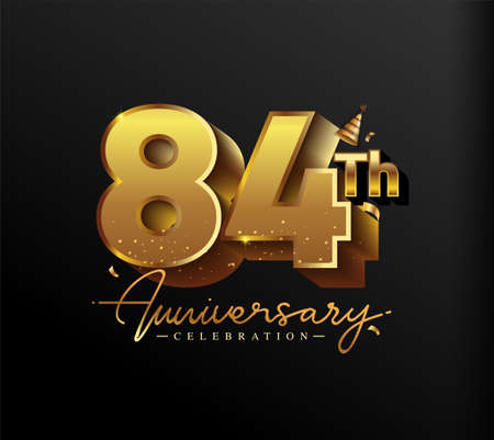 84th Anniversary Logotype with Gold Confetti Isolated on Black Background, Vector Design for Greeting Card and Invitation Card