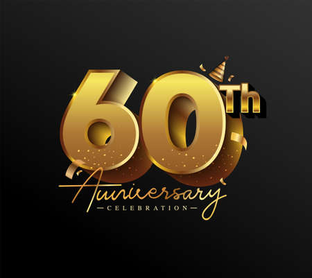 60th Anniversary Logotype with Gold Confetti Isolated on Black Background, Vector Design for Greeting Card and Invitation Card