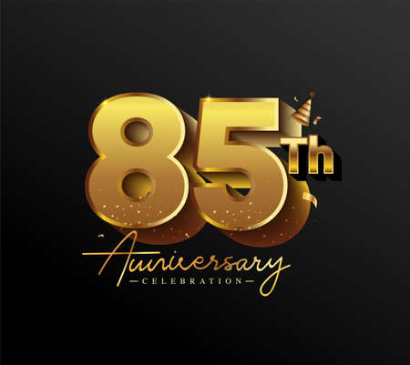 85th Anniversary Logotype with Gold Confetti Isolated on Black Background, Vector Design for Greeting Card and Invitation Card