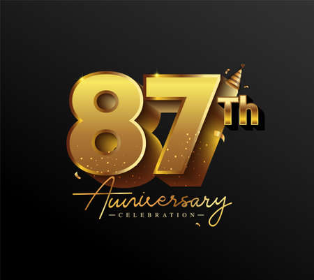87th Anniversary Logotype with Gold Confetti Isolated on Black Background, Vector Design for Greeting Card and Invitation Card 向量圖像
