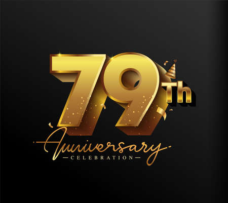 79th Anniversary Logotype with Gold Confetti Isolated on Black Background, Vector Design for Greeting Card and Invitation Card 向量圖像
