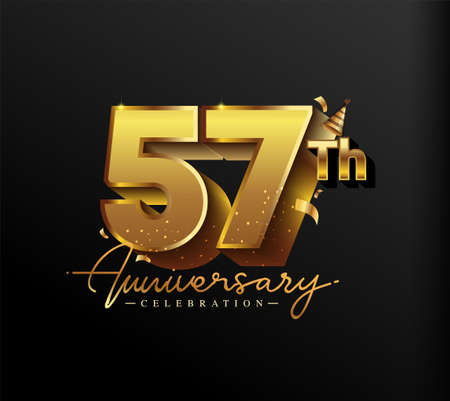 57th Anniversary Logotype with Gold Confetti Isolated on Black Background, Vector Design for Greeting Card and Invitation Card