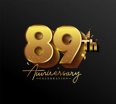 89th Anniversary Logotype with Gold Confetti Isolated on Black Background, Vector Design for Greeting Card and Invitation Card