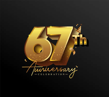 67th Anniversary Logotype with Gold Confetti Isolated on Black Background, Vector Design for Greeting Card and Invitation Card