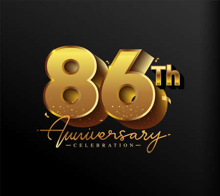 86th Anniversary Logotype with Gold Confetti Isolated on Black Background, Vector Design for Greeting Card and Invitation Card