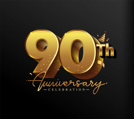 90th Anniversary Logotype with Gold Confetti Isolated on Black Background, Vector Design for Greeting Card and Invitation Card 向量圖像