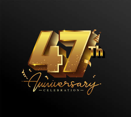 47th Anniversary Logotype with Gold Confetti Isolated on Black Background, Vector Design for Greeting Card and Invitation Card