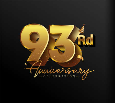 93rd Anniversary Logotype with Gold Confetti Isolated on Black Background, Vector Design for Greeting Card and Invitation Card