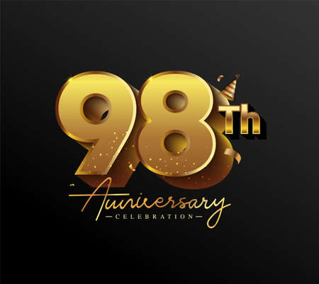 98th Anniversary Logotype with Gold Confetti Isolated on Black Background, Vector Design for Greeting Card and Invitation Card 向量圖像