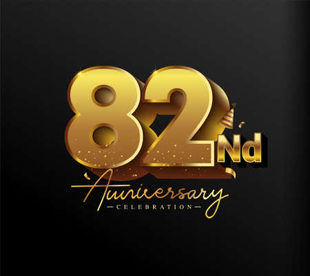 82nd Anniversary Logotype with Gold Confetti Isolated on Black Background, Vector Design for Greeting Card and Invitation Card 向量圖像