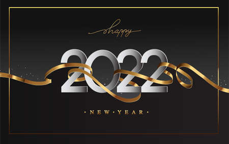 New Year 2022 - Greeting card with golden ribbon and Elegant text with light. Minimalistic template. Illustration