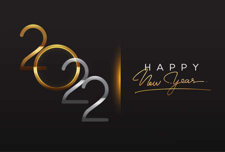 Happy New Year 2022 text design gold colored isolated on black background, vector elements for calendar and greeting card.