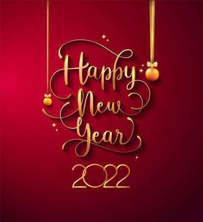 New Year 2022 handwritten lettering typography design with golden elegant color on red background Illustration