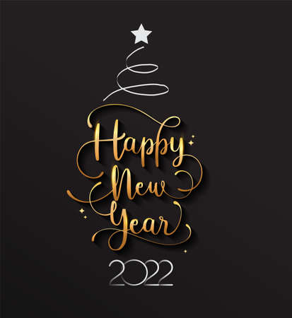 New Year 2022 handwritten lettering typography design with golden elegant color and Christmas Tree. Illustration